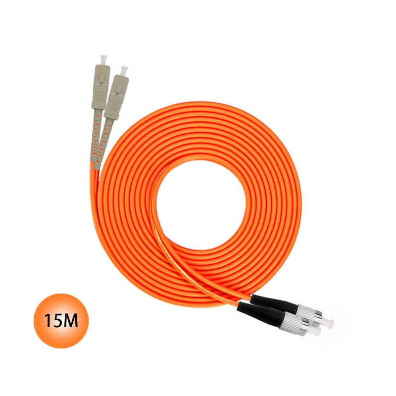 SC to FC 50/125 Multimode Duplex Plenum Fiber Patch Cable 15M Jumper Cable 50 Microns UPC Polish Orange OFNP Jacket OM2