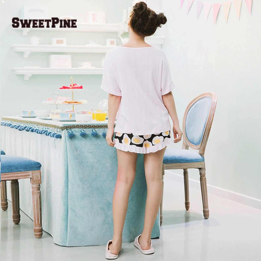 ... SWEETPINE Fried Eggs Printing Cotton Pajama Two-piece Set Short Sleeve  T-shirt ... a5b0a5c2e