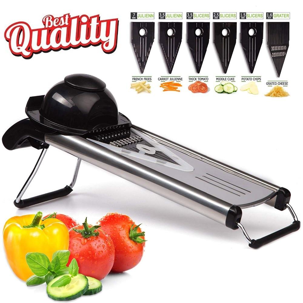 VOGVIGO Professional Multifunctional V Slicer Mandoline Slicer Food Chopper Fruit & Vegetable Cutter with 5 Blades kitchen Tool