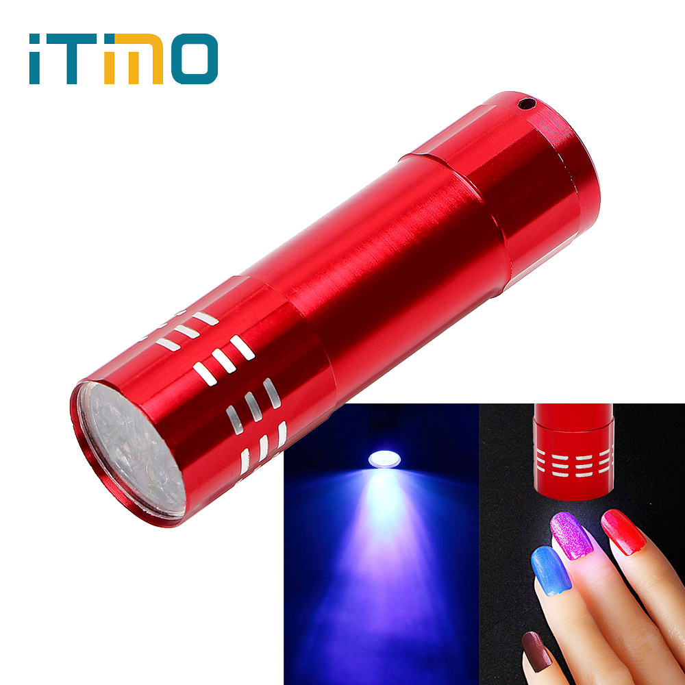 iTimo LED UV Light Gel Nail Dryer 15s Fast Dry LED Flashlight Cure Nail Tools Professional Mini Portable Cash Check Lamp scuba dive light