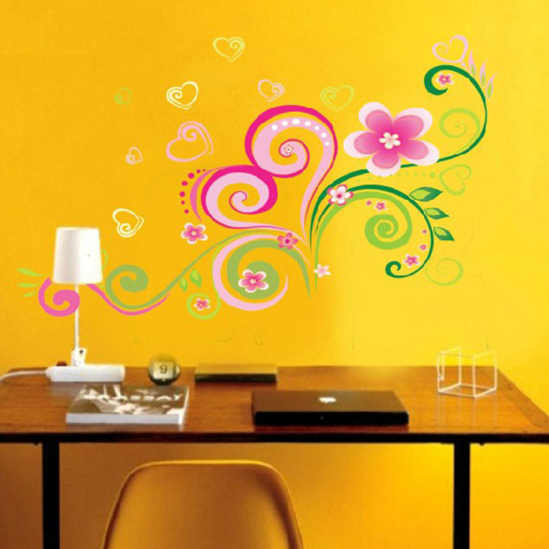 DIY Multi color Mural Flowers Wall Stickers Home Decor Living Room ...