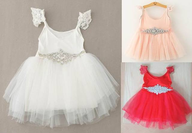 2015 New Girl Princess Dresses Party Summer Dresses Lace White Gauze Dress TUTU Red Dresses