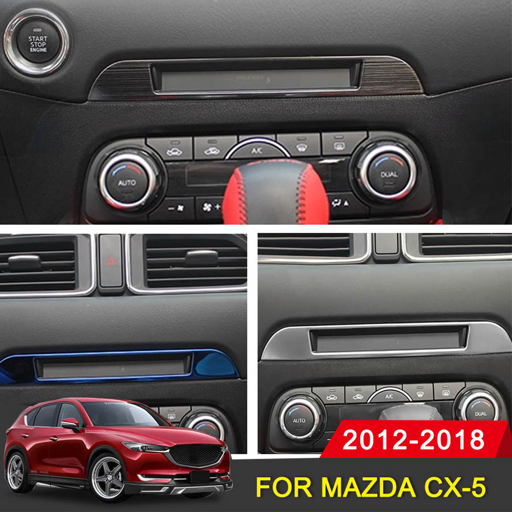 Car <font><b>Interior</b></font> Decoration Middle CD Console Dashboard Trim Sticker Frame Cover For <font><b>Mazda</b></font> <font><b>CX</b></font>-<font><b>5</b></font> CX5 2017 <font><b>2018</b></font> 2019 <font><b>Accessories</b></font> image