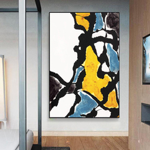 100% Hand Painted Abstract Modern Golden Colorflow Art Oil Painting On Canvas Wall For Living Rooms Home Decor