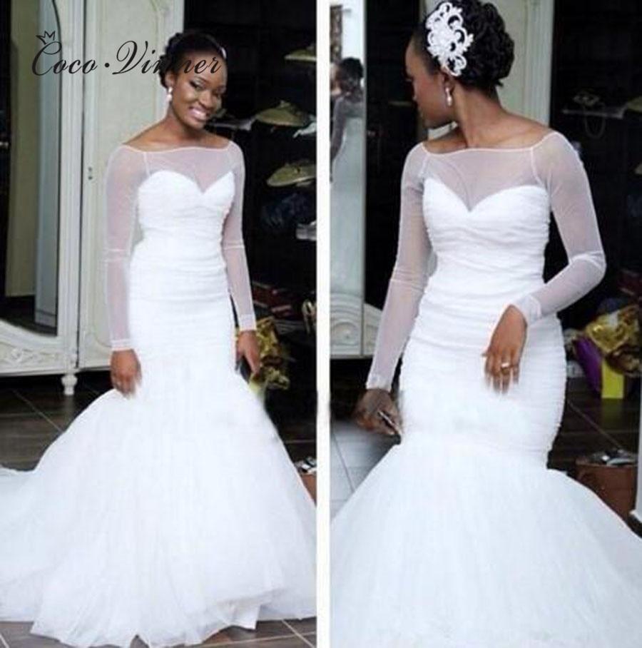 Elegant Simple White Mermaid Style Wedding Dresses 2019 Pure White Plus Size Court Train Sheer Neck Bridal Wedding Gown W0375