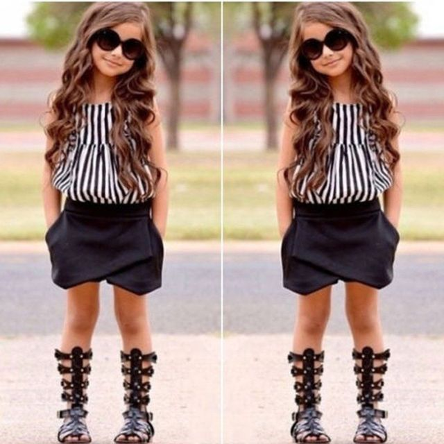 c3143e844132 2017 NEW Hot-selling 2pcs Baby Kids Girls Summer Clothes Sleeveless Striped  Tops Blouse+Asymmetric Shorts Outfits set 2~7Y
