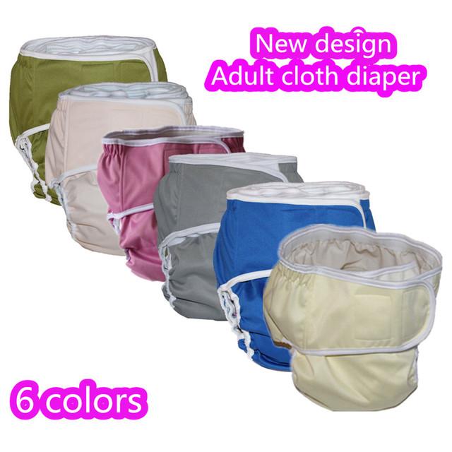 Novo Design 5 pçs/lote Adulto fralda calça de Cor Sólida, gancho e laço Adulto Incontience fraldas de pano reutilizáveis