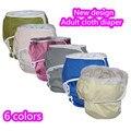 Nuevo Diseño 5 unids/lote Color Sólido Adulto pañal calzón, gancho y bucle Incontience Adultos pañales de tela reutilizables