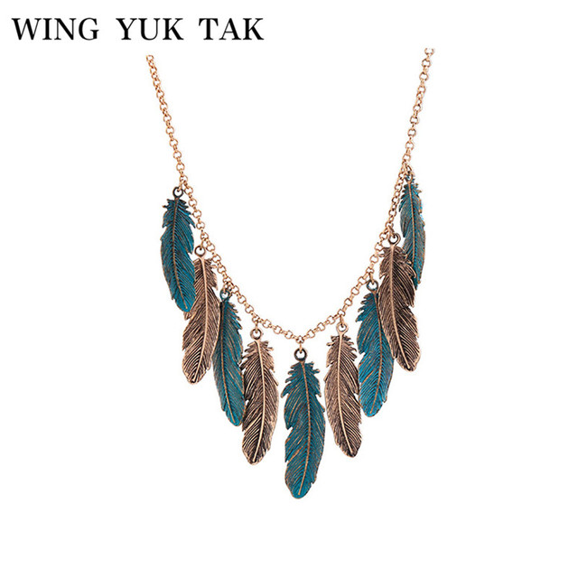 wing yuk tak New Arrival Fashion All-match Vintage Lucite Feather Womens Tassel Pendant Necklace Jewelry