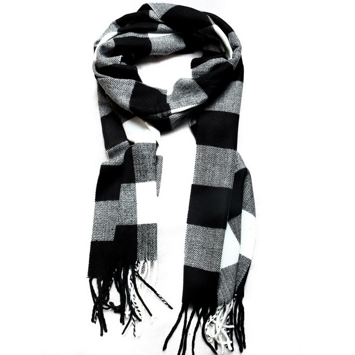 womens mens designer scarf cotton black white