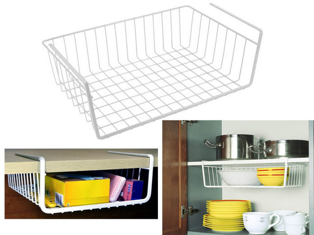 Silver Under Shelf Table Storage Basket Racks Kitchen Bathroom Wire Mesh  Grid Cabinet Organizer Closet Container