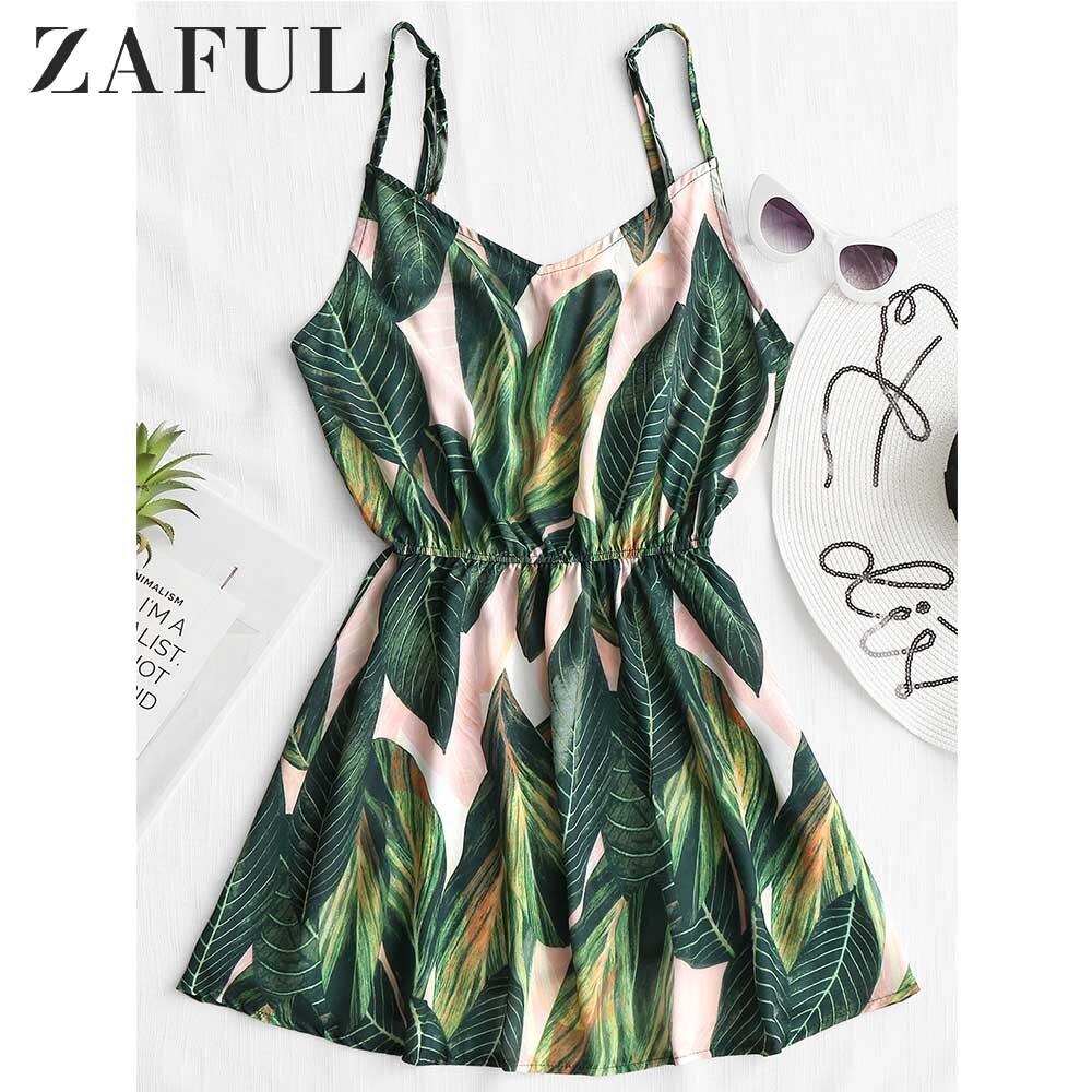 413dd70c7e6 ZAFUL Beach Dress Women Mini Summer Dress Leaf Print Sleeveless V Neck Spaghetti  Strap Elastic Waist Dresses 2019 Sundress New-in Dresses from Women s ...