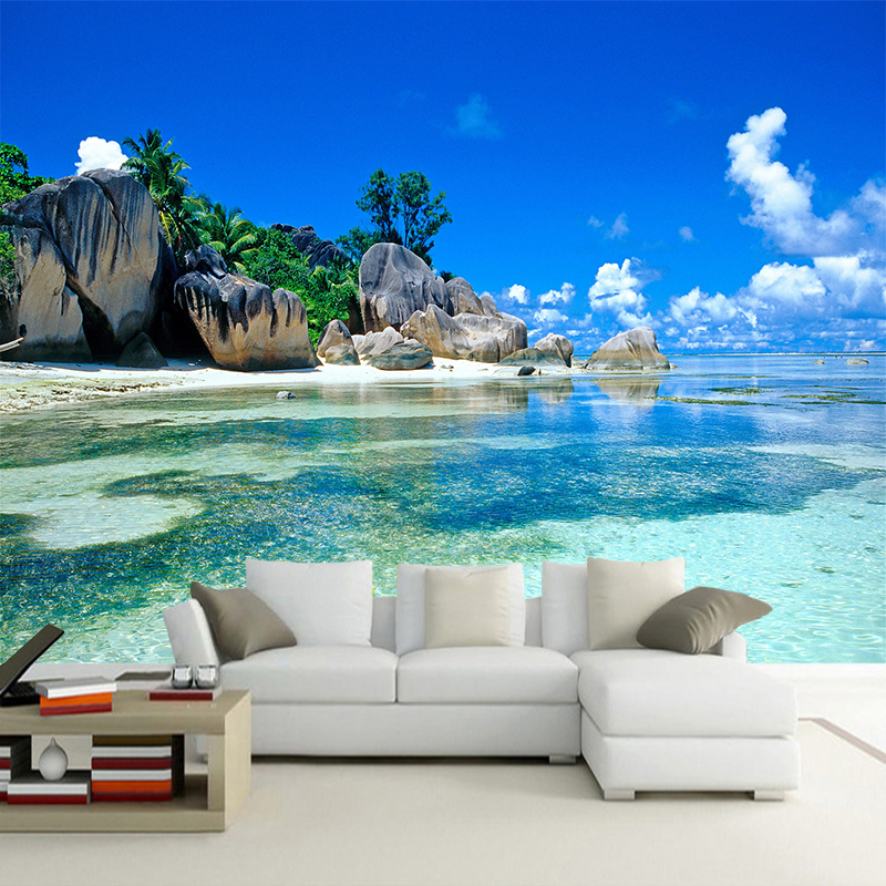 Custom 3D Photo Wallpaper Roll For Walls 3D Seascape Beach Sea Island Mural Living Room Bedroom Decor Wallpaper Wall Covering