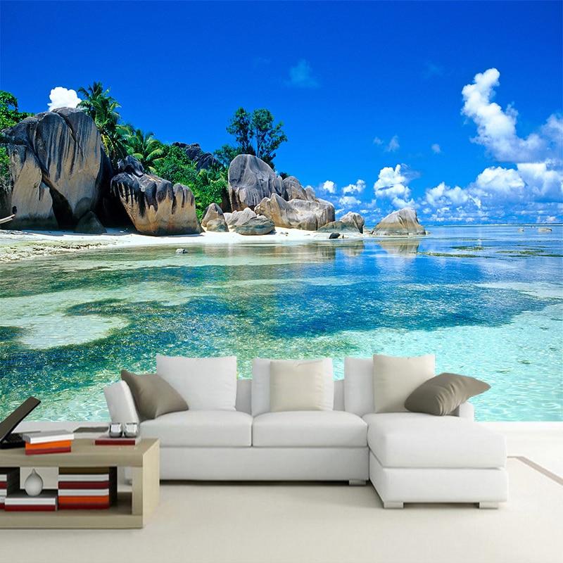 Custom 3D Photo Wallpaper Roll For Walls 3D Seascape Beach Sea Island Mural Living Room Bedroom Decor Wallpaper Wall Covering