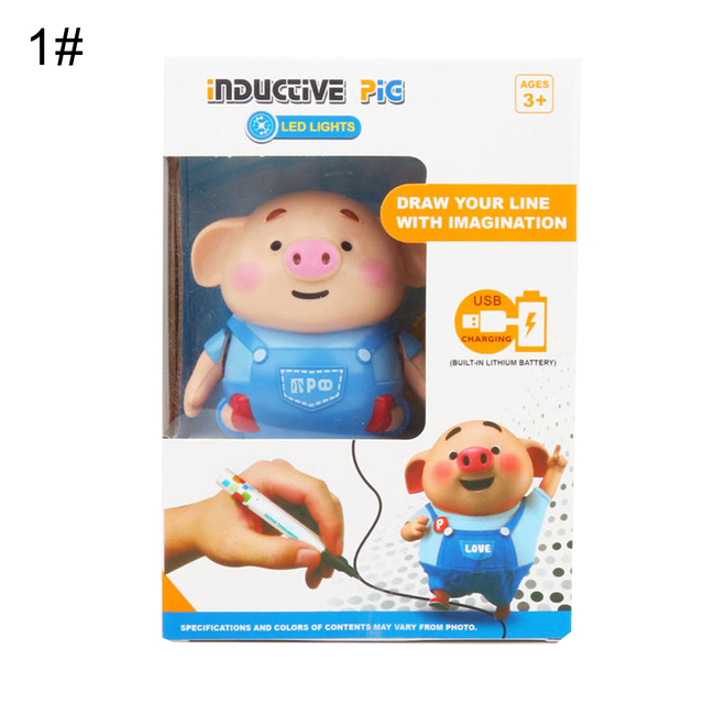 Follow Any Drawn Line Binory Magic Pig Robot Pen Inductive Pig With Light Music Smart Education Toy