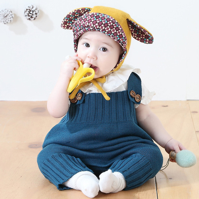 2c1f2269ed3 Korean Kids Girl Boy Knitted Cotton Overalls Infant Toddler Baby Rompers  Fashion Kids Clothings Autumn