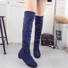 Women's High Boots Shoes Fashion Women Over The Knee Boots New Autumn Winter Flock Botas Feminina Thigh High Boots Ladies(China)