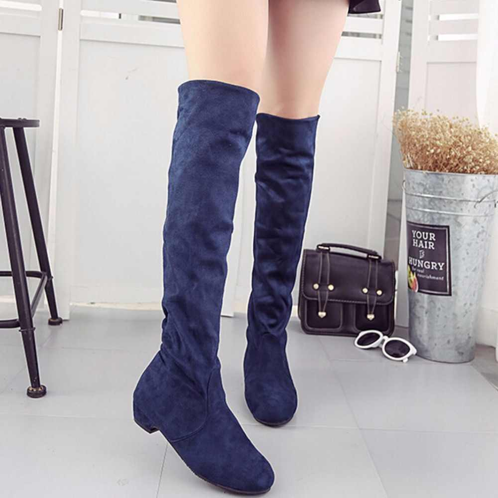 628fde4a18a2 Detail Feedback Questions about Women's High Boots Shoes Fashion Women Over  The Knee Boots New Autumn Winter Flock Botas Feminina Thigh High Boots  Ladies on ...