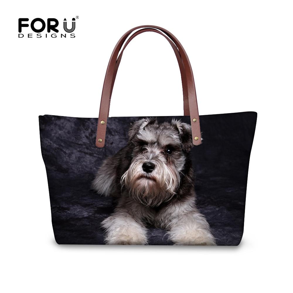 FORUDESIGNS Women Shoulder Handbags Cute 3D Schnauzer Dog ...