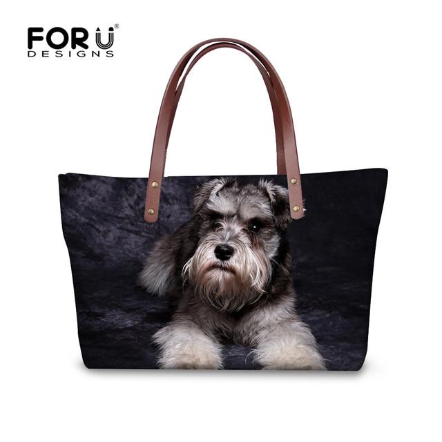 8258fed5a34 FORUDESIGNS Women Shoulder Handbags Cute 3D Schnauzer Dog Woman Cross-body  Bag Ladies Messenger Bags sac a main Bolsos Feminina