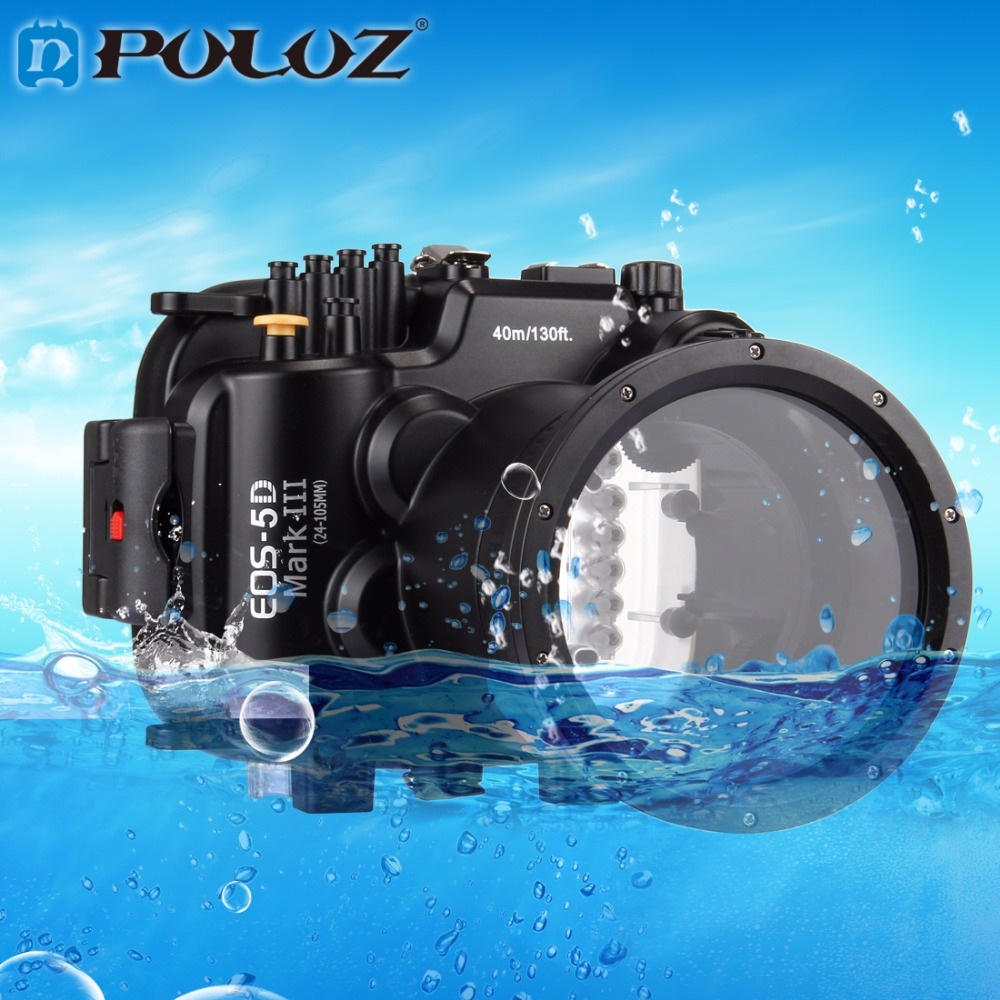 PULUZ 40m 130ft Depth Underwater Swimming Diving Case Waterproof Camera Housing case for Canon EOS-5D Mark III 40m 130ft waterproof underwater camera diving housing case aluminum handle for sony a7 a7r a7s 28 70mm lens camera