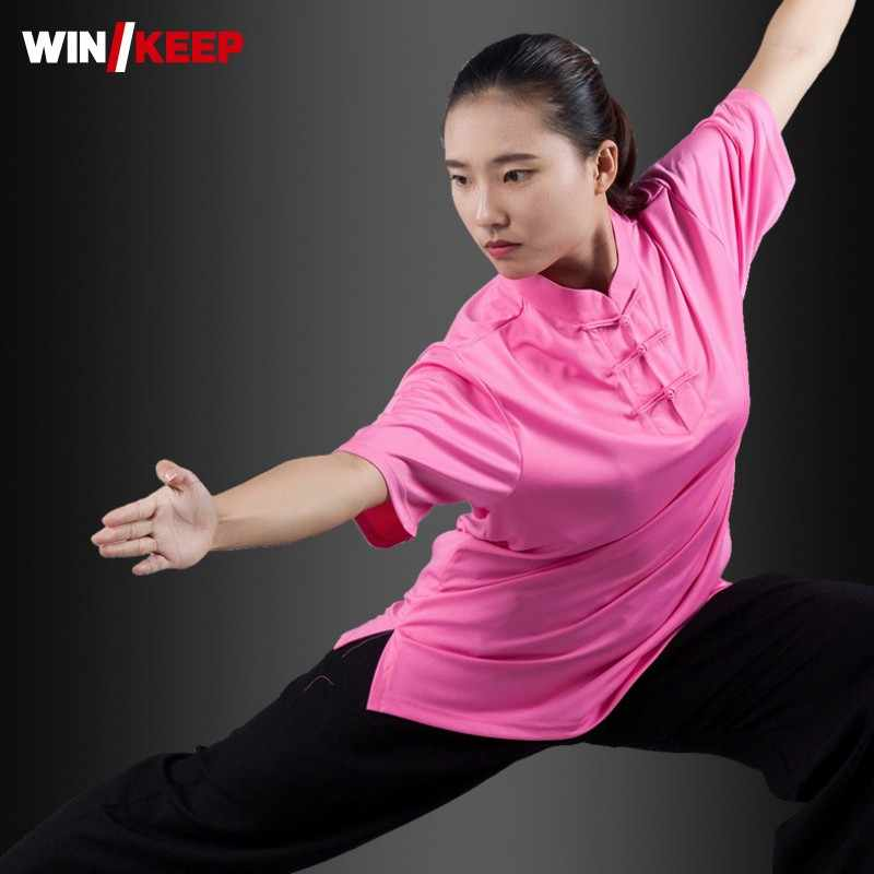 Zomer Ademend Zijde Korte Mouw Kung Fu Shirts Wing Chun Training Vintage Sport Tops Martial Arts Taichi Uniform Top Shirt