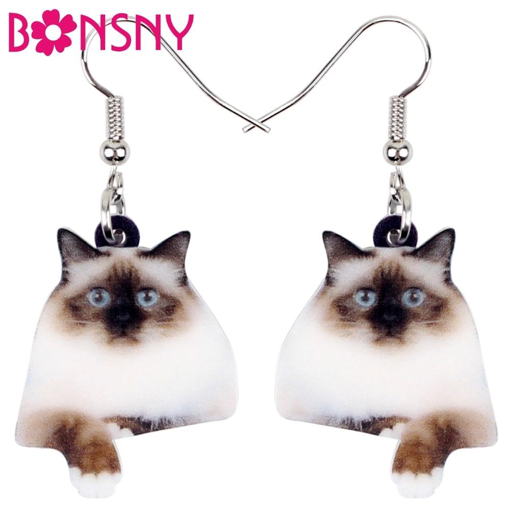 Bonsny Statement Acrylic Novelty Birman Cat Earrings Dangle Drop Big Long Cute Animal Jewelry For Women Girls Pet Lovers Brincos