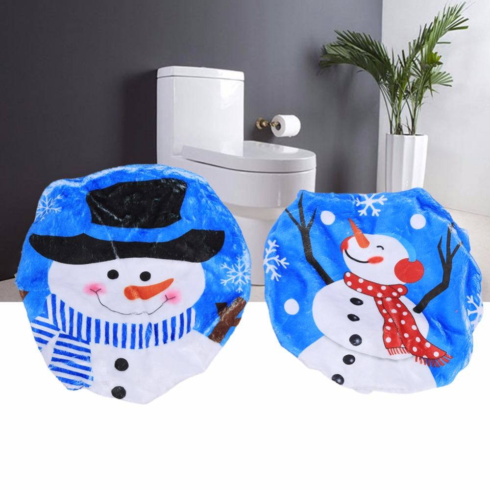 Christmas Happy Snowman Toilet Seat Cover Bathroom Xmas Gifts Decorations For Home Decor 43