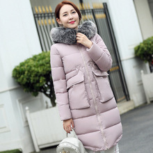 2016 winter coat blouse jacket Couture size long feather padded jacket thick loose woman