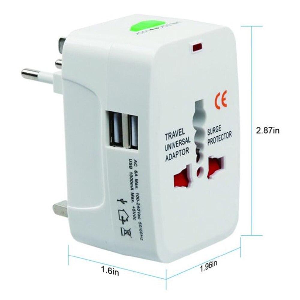 Adaptador de enchufe internacional Universal todo en uno 2 puertos USB adaptador de cargador de corriente alterna para viaje mundial con AU US UK la UE convertidor de enchufe
