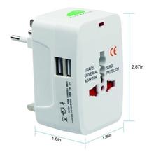 USBO Multifuntion 5V 1A 2USB 범용 여행 어댑터 플러그 AC 충전기 Kr AU 미국 영국 EU 변환기 플러그 어댑터 CE 화이트 블랙