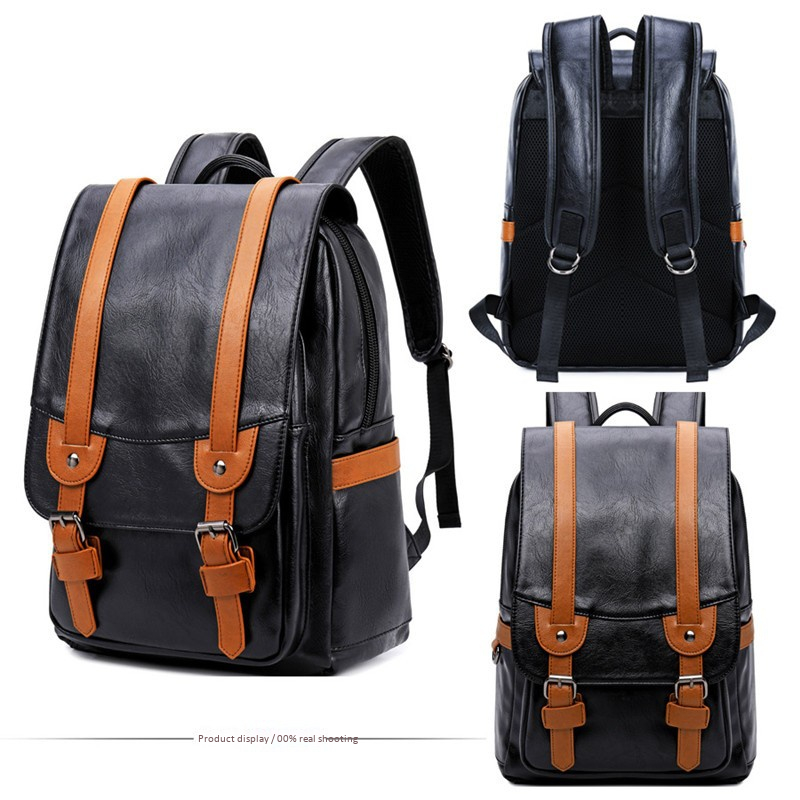 Kids & Baby's Bags College Middle School Student Schoolbag Stitching Contrast Color Pu Waterproof Male Retro Backpack Men Bags Travel Laptop Bag