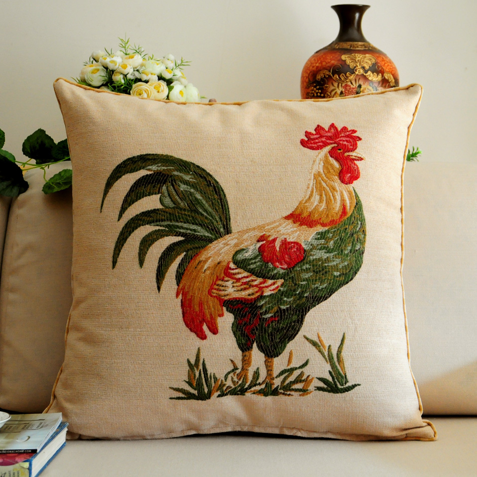 Rooster <font><b>Pillow</b></font> <font><b>Case</b></font> Jacquard Body Back Cushion Cock Cover Pillowcase Home Bedside Cafe Seats Decorative American Country <font><b>50*50cm</b></font> image
