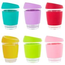 BearPaw новый красочный 350 мл/12 oz стеклянная кофейная кружка Портативный дорожная кофейная чашка с без БФА, силиконовый крышкой и рукава