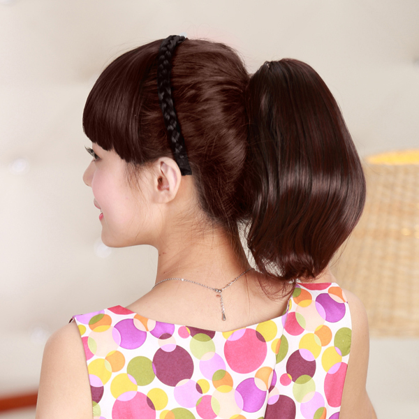Short Thick Synthetic Hair Extension Claw Clip On Ponytail On