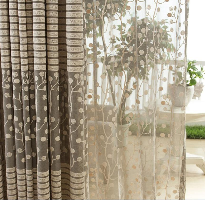Curtains For Living Room 200cm X 100cm Fresh Style Leaf Tulle Door Window Drape Panel Sheer