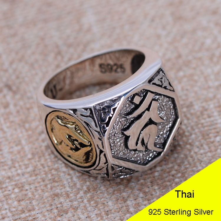 925 Sterling Silver Retro Men Male Ring Thai Silver Fine Jewelry Gift Buddhist Aryaacalanatha Finger Ring CH045563 100% genuine 925 sterling silver retro men male ring thai silver fine jewelry gift snake cross heavy finger ring ch057436