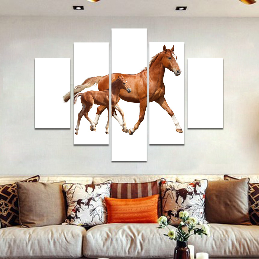 Unframed Canvas Animal Painting Two Brown Horses On White Picture Prints Wall Picture For Living Room Wall Art Decoration