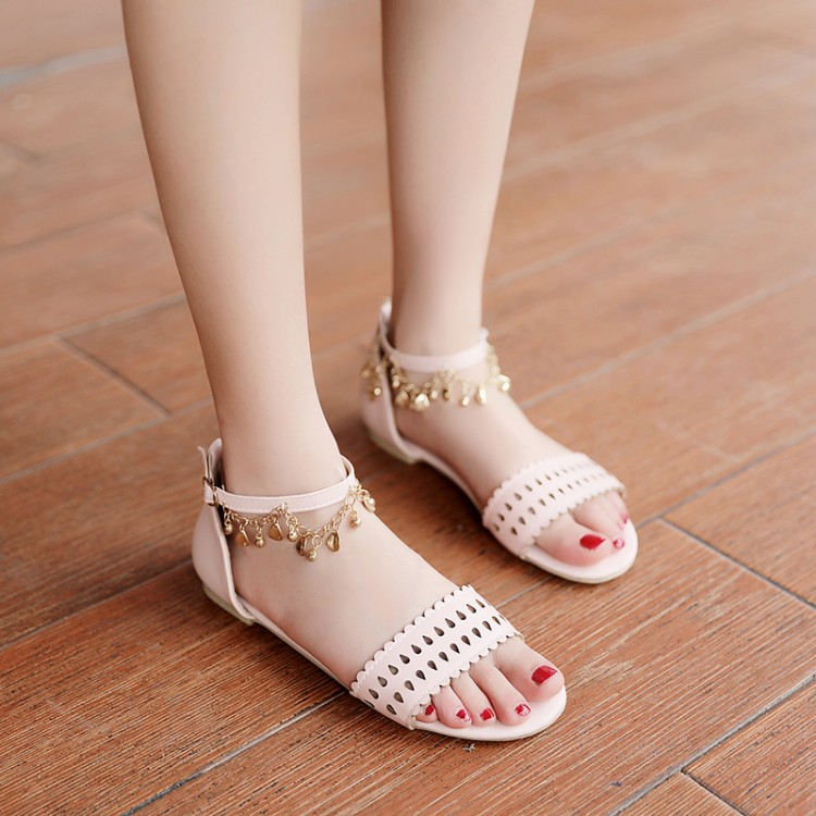 Big Size 11 12 13 14 15 16 17 summer flat sandals ladies women shoes woman Open toe bag with hollow metal decorative flat bottomBig Size 11 12 13 14 15 16 17 summer flat sandals ladies women shoes woman Open toe bag with hollow metal decorative flat bottom