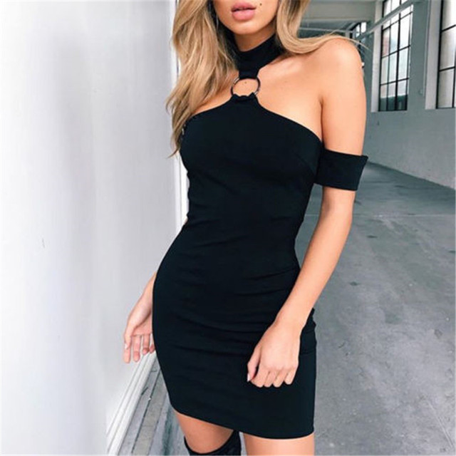 12349d79d9e68 US $4.68 12% OFF|New Sexy Women Halter Style Mini Dress Off Shoulder Female  Evening Party Dress Clothes Hot Summer Package Hip Dress -in Dresses from  ...