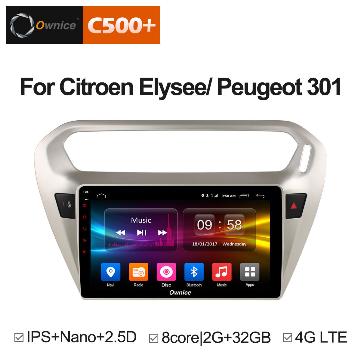 Ownice C500+ G10 Android 8.1 Eight core Car radio Player <font><b>gps</b></font> navi <font><b>for</b></font> <font><b>Peugeot</b></font> <font><b>301</b></font> Citroen Elysee 2014 2015 2016 2GB RAM 32GB ROM image