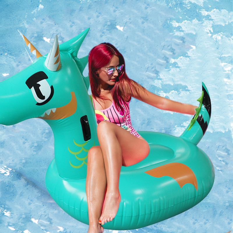 2019 plus récent géant vert Dragon gonflable piscine flotteur pour adultes enfants dinosaure t-rex natation anneau eau matelas plage fête jouets