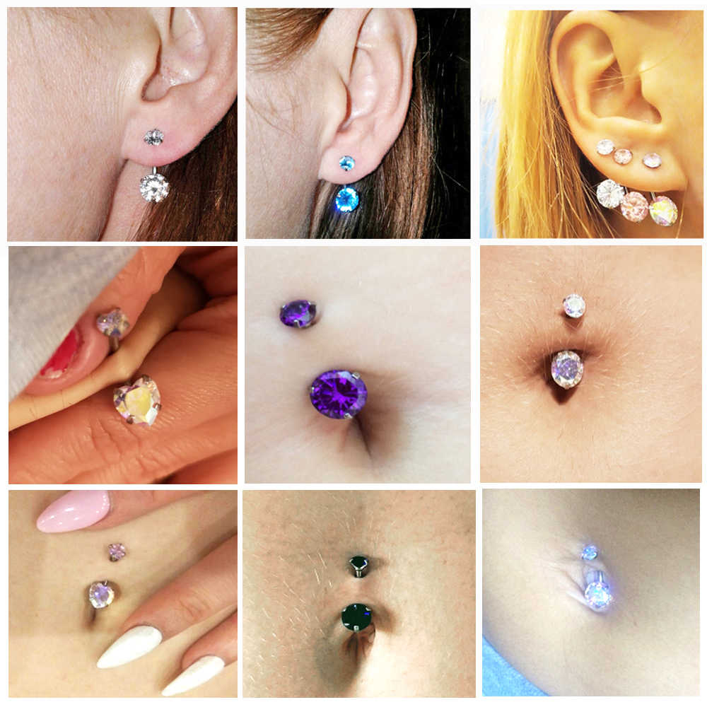 1PC Double/Single Zircon Belly Button Rings Piercing Navel Bars Stud Silver Ear Tragus Cartilage Helix Piercings Jewelry