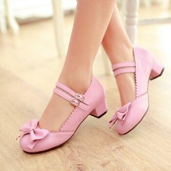 2019 nuevos tacones bajos japoneses sweet azo de Lolita zapatos de mujer 3,8 cm tacón bajo zapatos Mary Jane COS estudiante chica zapatos tide med heels37