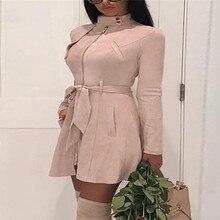 Осень-зима Для женщин из замшевой ткани Тренч Модные Карманы открытый кардиган Пальто с ремешком женские длинный плащ верхняя одежда Уличная