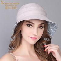 Charles Perra Summer Female Bucket Hats New Sunscreen Visor Hat Collapsible Beach Caps Fashion Casual Women Sun Cap 7522