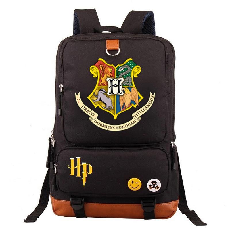 New Hufflepuff Slytherin Gryffindor Boy Girl School bag Women Bagpack Teenagers Schoolbags Canvas Men Student Backpack Packsack in Backpacks from Luggage Bags