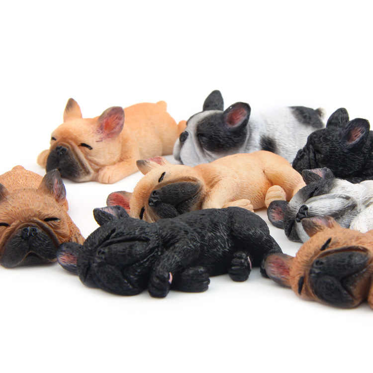 Kawaii Sleepy Simulation French Bulldog Resin Toy Figurine Cartoon Hand Model Kids Gifts Porcelain Figurines Home decorations