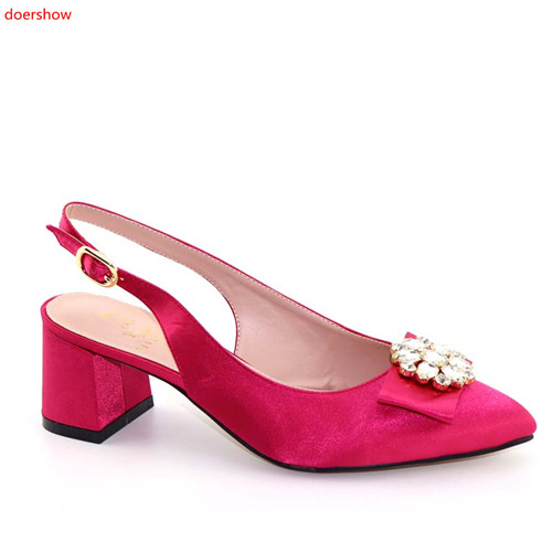 US $48.36 38% OFF|doershow Most popular fuchsia women sandals with rhinestone design african black low heel shoes for dress HFF1 16 in Women's Pumps