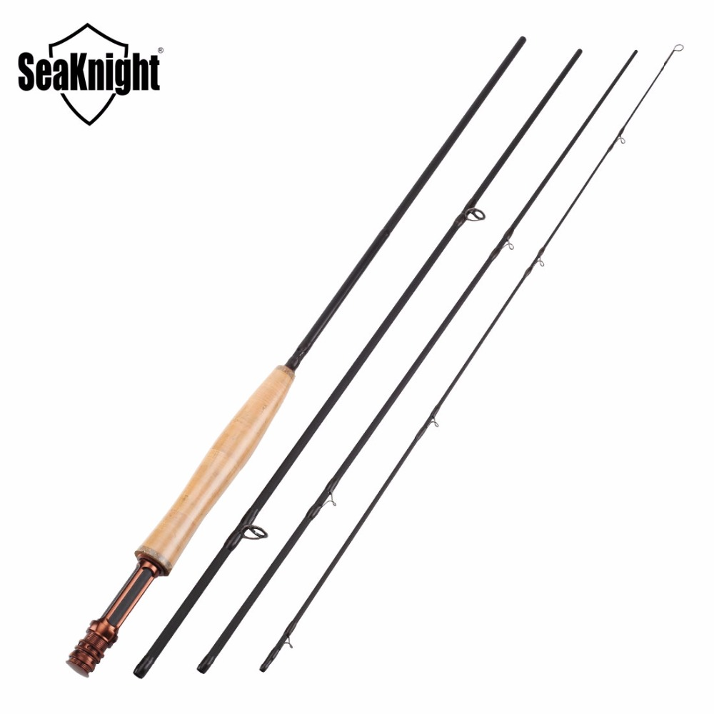 все цены на SeaKnight MAXWAY HONOR Series New 3/4# 4 Sections 2.4M 40T Carbon 3A Soft Wooden Handle FUJI Rings Fly Fishing Rod Fly Rod онлайн